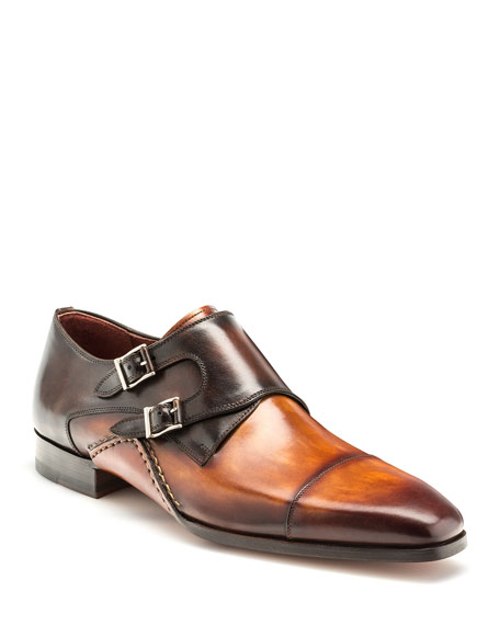 Men's Ondara Double-Monk Two-Tone Leather Shoes