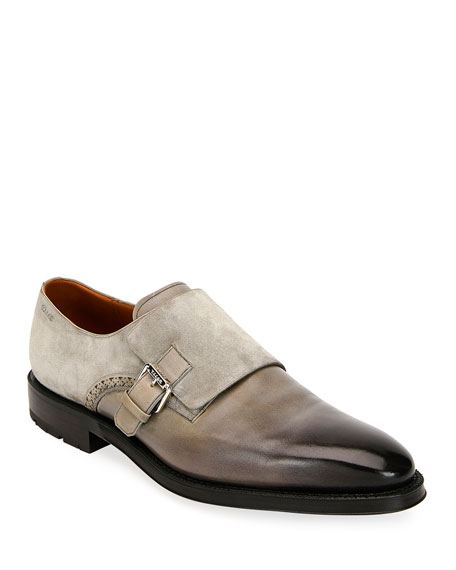 Bally Men's Balbin Leather Injected-Sole Monk Strap Shoes