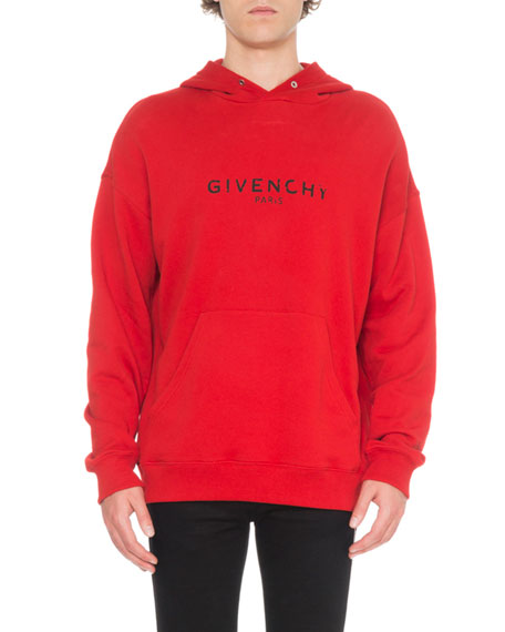 Men's Distressed Logo-Print Hoodie Sweatshirt