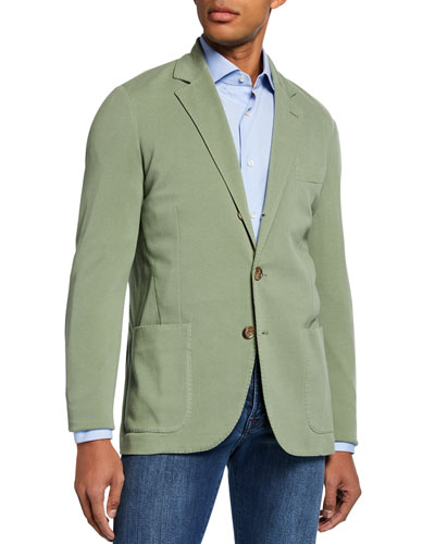 Men's Basic Knit Three-Button Jacket  Olive