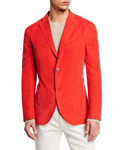 Men's Corduroy Two-Button Jacket  Red