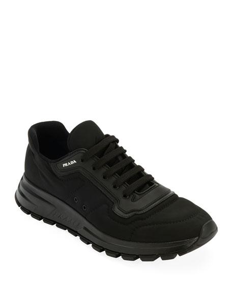Prada Men's Gabardine Soft Low-Top Sneakers