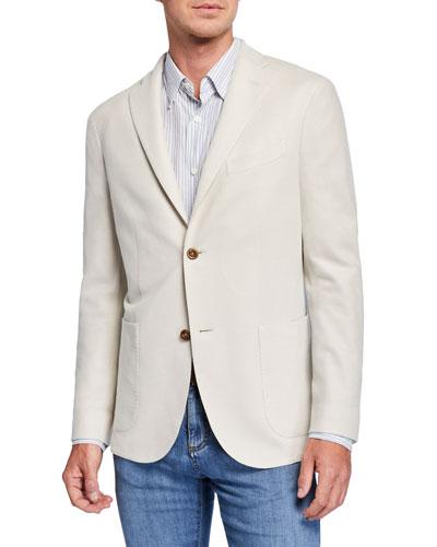 Men's Solid Pique Two-Button Jacket