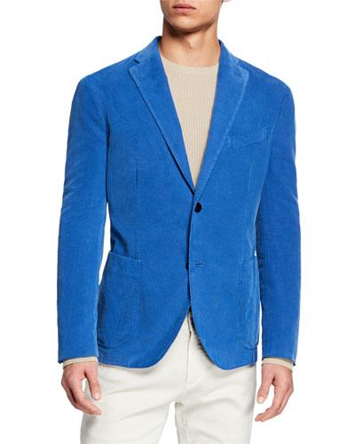 Men's Corduroy Two-Button Jacket  Blue