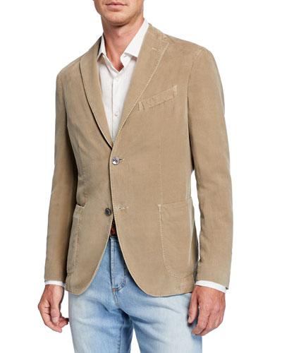 Men's Corduroy Two-Button Jacket  Tan