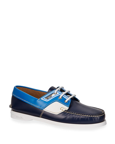 7b1f2d9b3dd Men s Lace-Up Leather Boat Shoes Quick Look. Prada