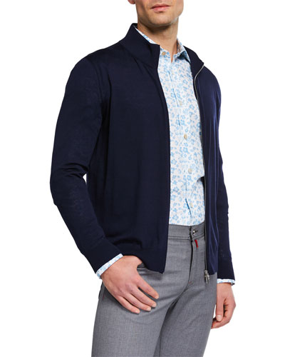 Men's Wool Zip-Front Sweater