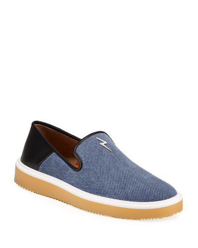 Men's Canvas/Leather Slip-On Sneakers