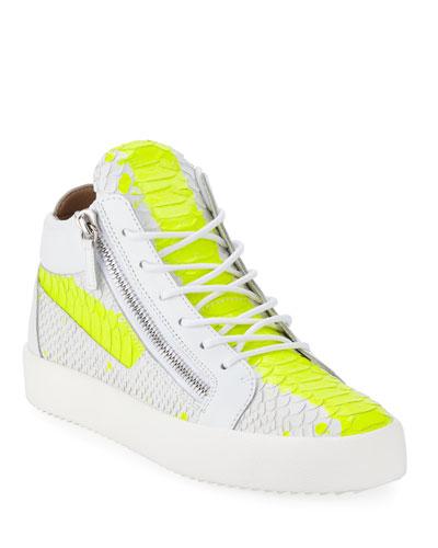 Men's Neon Snake Double Zip Mid-Top Sneaker