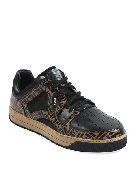 Fendi Men's Fancy Logo Low-Top Leather Sneakers