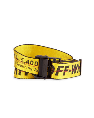 Off-White Men's Industrial Web Logo Belt, Yellow