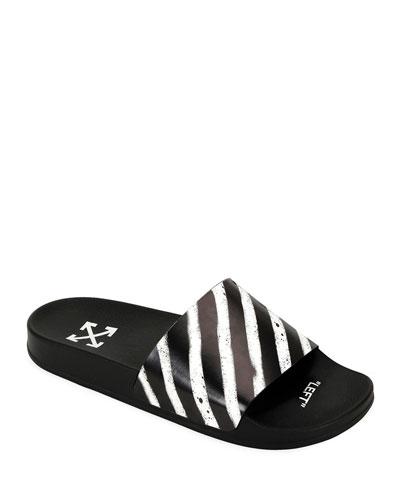 Men's Spray-Stripe Pool Slide Sandals