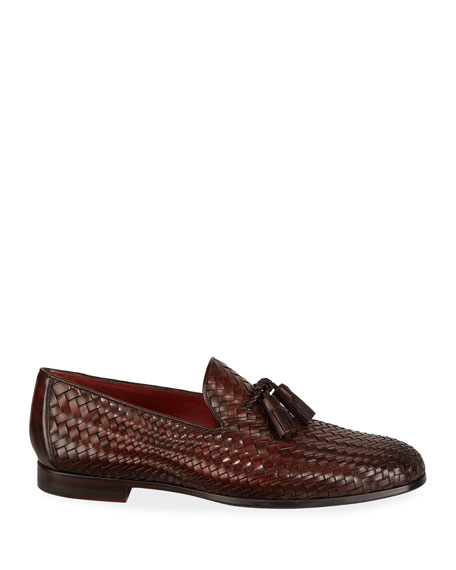 Men's Arcade Caoba Woven Leather Loafers