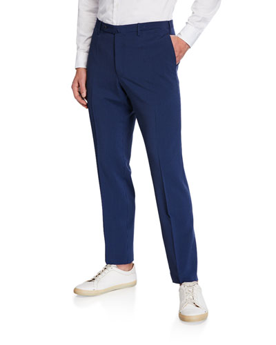 Men's Matty Wool/Silk Seersucker Straight-Leg Trousers