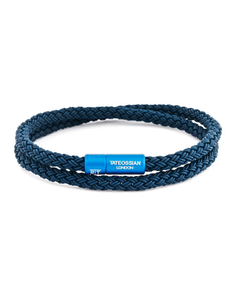 Image 1 of 1: Men's Rubber Double-Wrap Bracelet, Blue