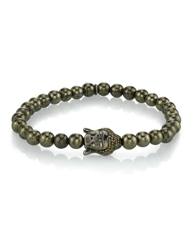 Men's Pyrite Bracelet w/ Buddha Head  6mm