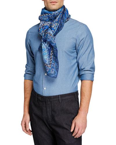 Men's Linen/Silk Paisley Scarf
