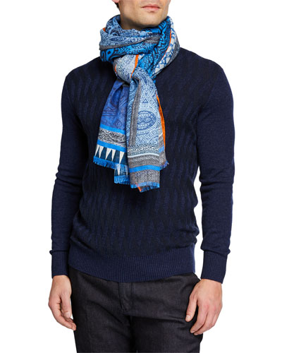 Men's Graphic-Print Linen Scarf