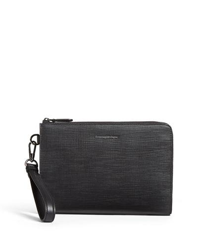 Men's Stuoia Small Zip-Around Leather Portfolio Case