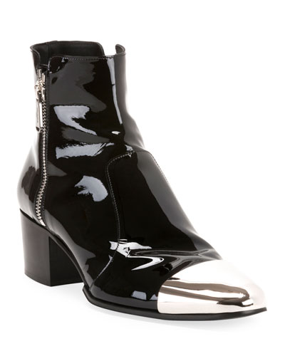 Men's Karen Metal-Toe Patent Leather Boots
