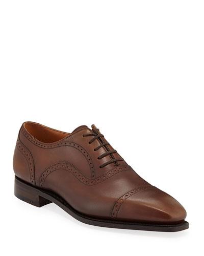 Men's Cap-Toe Dress Shoes with Brogue Details