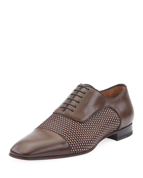 Christian Louboutin Oxfords MEN'S GREGGO LEATHER RED SOLE OXFORDS