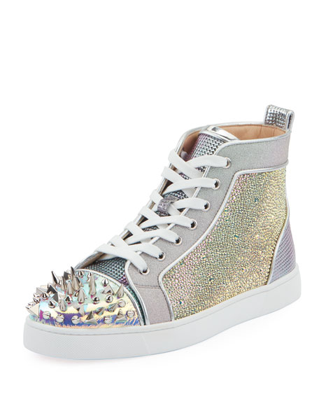 Christian Louboutin Men's Loox Strass Mixed-Media Mid-Top