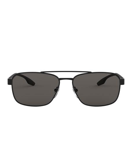 Men's 59mm Square Metal Aviator Sunglasses