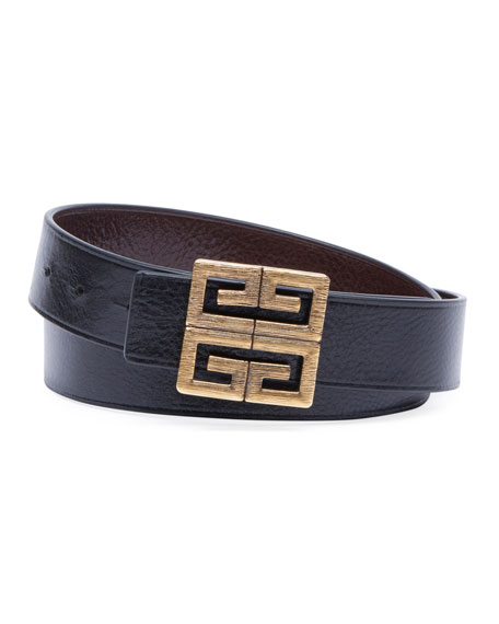 Image 1 of 1: Men's 4-G Buckle Reversible Leather Belt