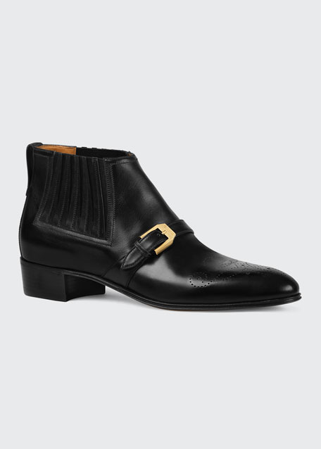 Men's Worsh Leather Ankle Boots