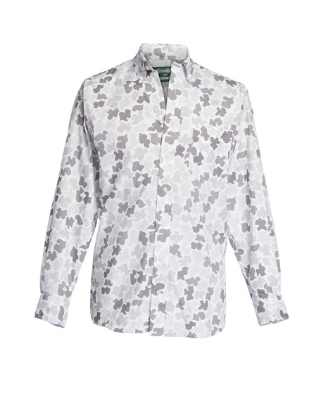 Men's Camo-Print Cotton Sport Shirt