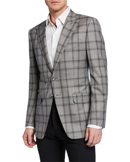 TOM FORD Men's O'Connor Peak-Collar Plaid Jacket