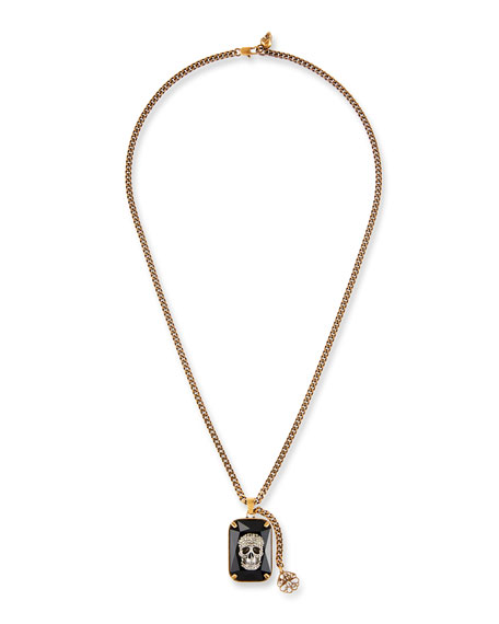 Image 1 of 1: Men's Swarovski® Crystal Skull Necklace