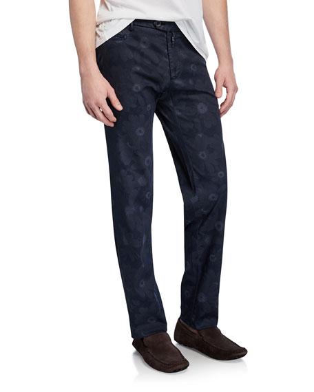 Isaia Pants MEN'S TONAL FLORAL-PRINT STRAIGHT-LEG PANTS