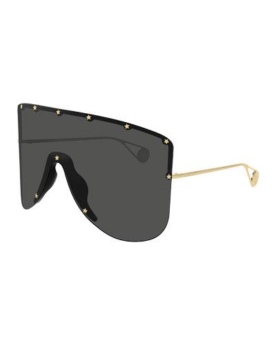 Men's Star-Trim Shield Sunglasses