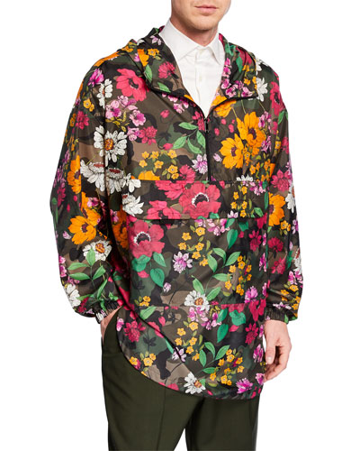 Men's Floral-on-Camo Wind-Resistant Jacket