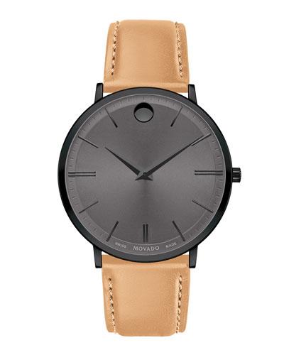 Men's Ultra Slim Leather Watch
