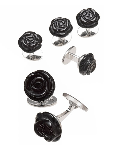 Onyx Carved Rose Tuxedo Cuff Link and Stud Set