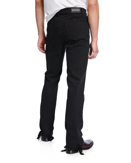 Men's Fitted 5-Pocket Distressed-Hem Jeans