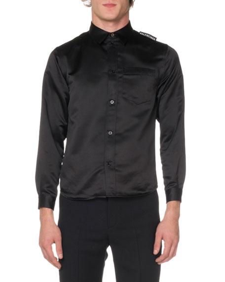 Balenciaga Men's Long-Sleeve Oversized Twill Sport Shirt