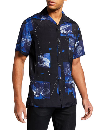 Men's Tattoo-Print Bowling Shirt