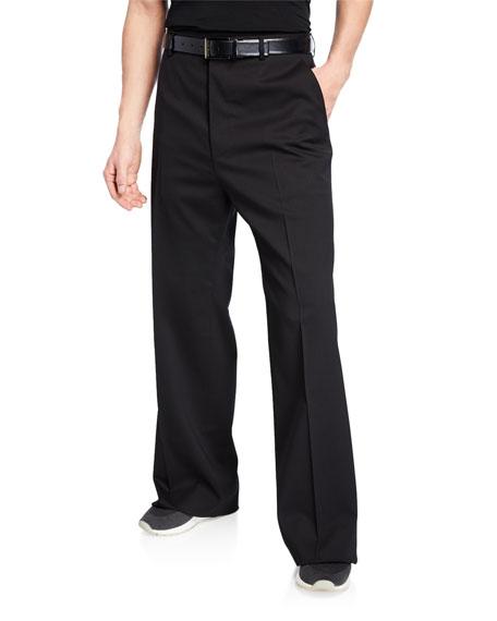 Lanvin Men's Wide-Leg Wool Trousers