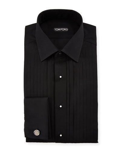 Men's Yarn-Dyed Pleated Poplin Dress Shirt