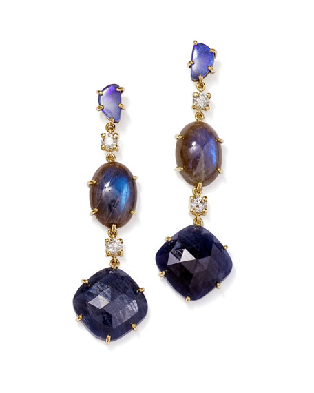 Jan Leslie Ties 18K BESPOKE TRIBAL LUXURY 3-TIER EARRING WITH BOULDER OPAL, LABRADORITE, SAPPHIRE, AND DIAMOND