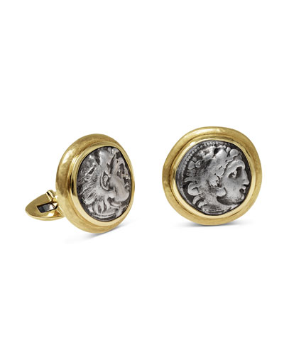 Men's Ancient Alexander The Great Coin 18K Gold Cufflinks