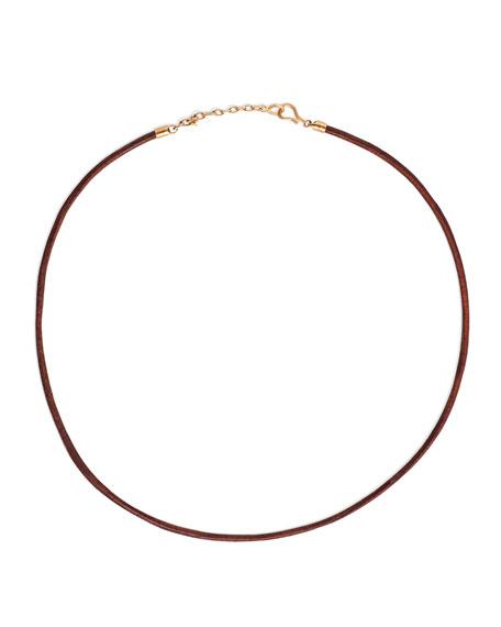 Men's Leather Cord Necklace w/ 18k Rose Gold, Black