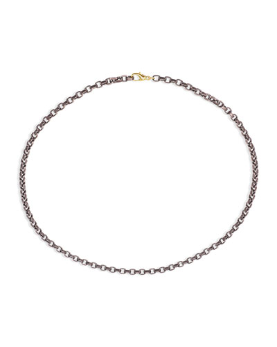 Men's Stainless Steel Chain w/ 18k Gold  22L  Rose