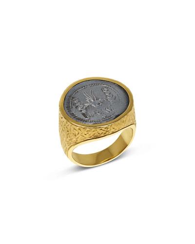 Men's Marc Antony Ancient Coin 18K Gold Ring