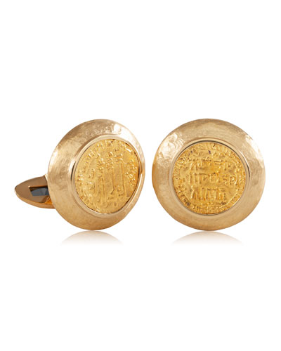 Men's Ancient Ibrahim II Coin 18K Gold Cufflinks