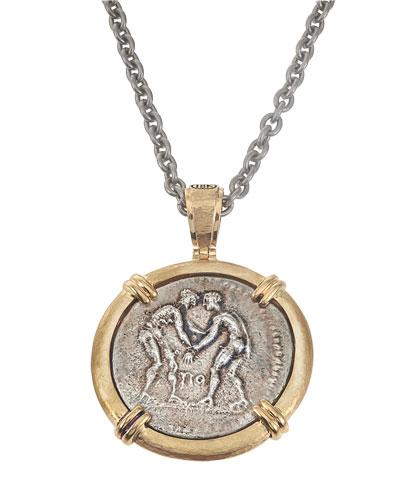 Greek Wrestlers Reversible Coin Pendant in 18k Gold from Jorge Adeler
